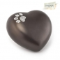 Preview: Ceramic Urns Animal Heart Pearl Swarovski Crystal Paw  Color:  Chocolat