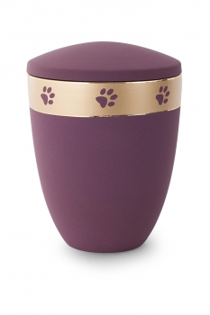 Ash urn edition Luna color : burgundy rouge  with paw gold strip