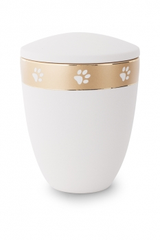 Ash urn edition Luna color : white with paw gold strip