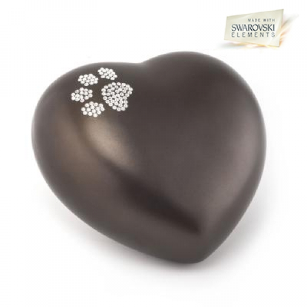 Ceramic Urns Animal Heart Pearl Swarovski Crystal Paw  Color:  Chocolat