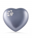 Ceramic Urns Animal Heart Pearl Swarovski Crystal Paw  Color: Grey
